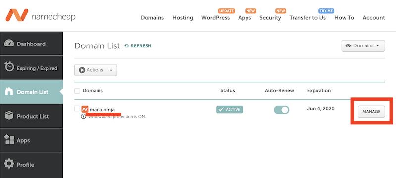 Namecheapの管理画面